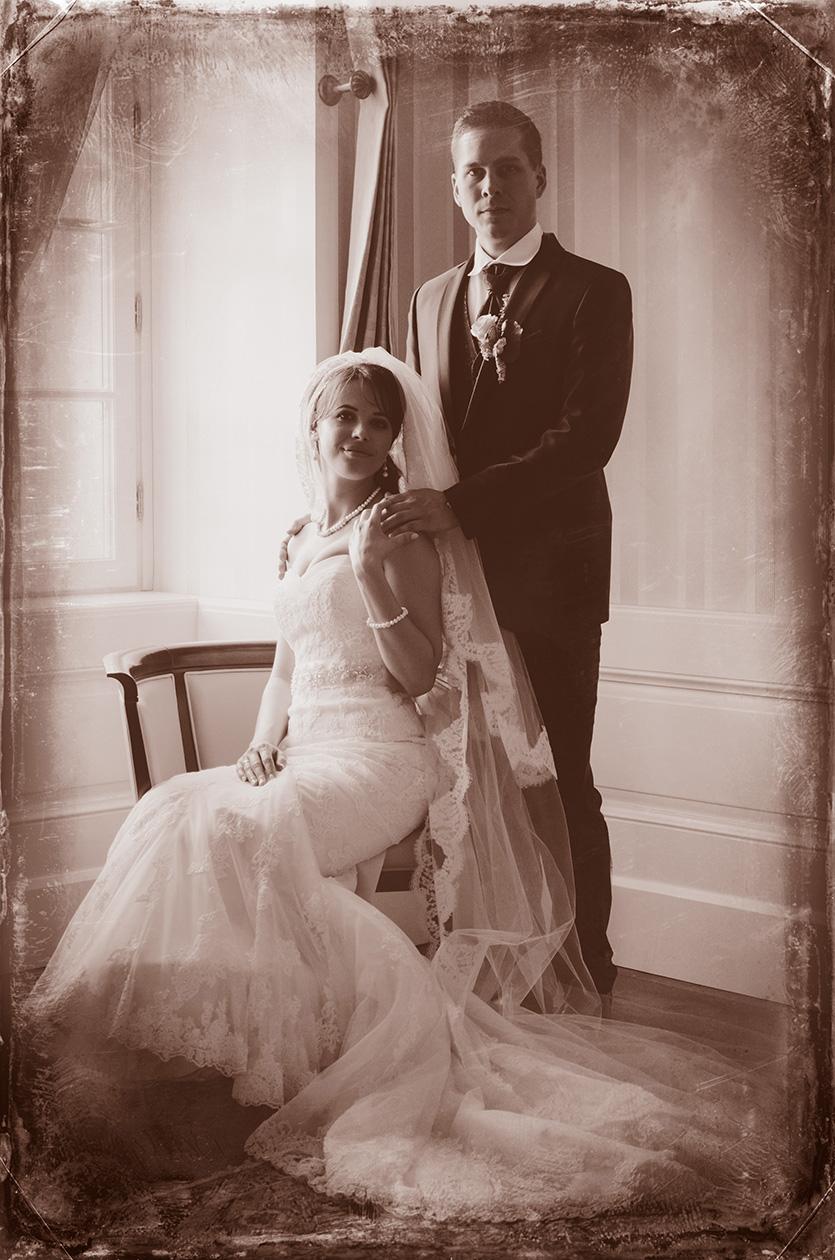 vintage hangulatú esküvői fotó